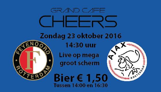 Feijenoord – Ajax live op groot scherm Bier € 1,50