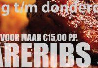 Zondag t/m donderdag!! Onbeperkt spareribs! € 17,50 pp