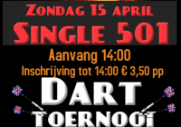 Darttoernooi zondag 15 april single 501