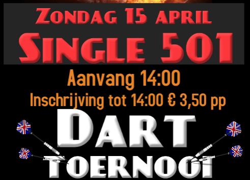 Darttoernooi zondag 15 april single 501